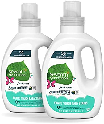 Seventh Generation Baby Concentrated Laundry Detergent Fresh Scent 40 oz 2 Pack 106 Loads