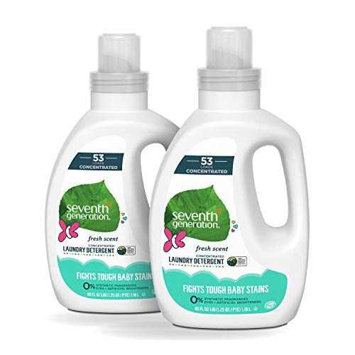 Seventh Generation Concentrated Baby Laundry Detergent, Fresh Scent, 40 oz, Pack of 2 (106 Loads) (Best Natural Laundry Detergent For Cloth Diapers)