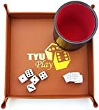Dice Cup - Tyu Play - Set with 5 Dices and Leather Tray Holder - 4 Drinking Dices - All in a Soft Black Velvet Bag - Bonus e-Book for Guaranteed Fun with Kids