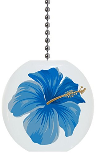 Ceramic Fan Pull (Blue Hibiscus Flower Solid Ceramic Fan Pull)