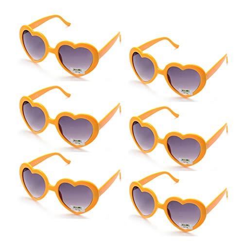 6 Neon Colors Heart Shape Party Favors Sunglasses, Multi Packs (6-Pack ()