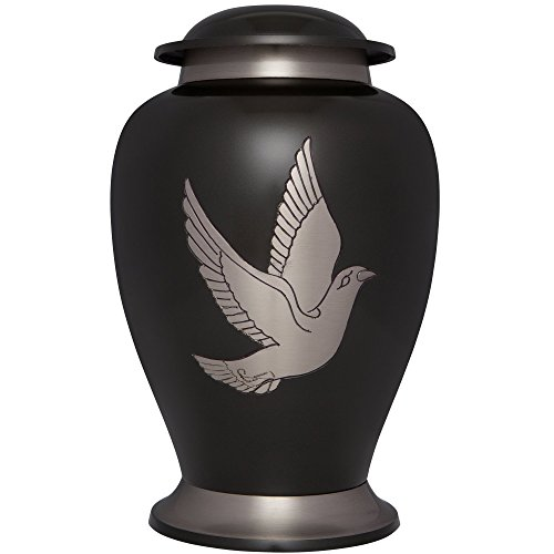 Liliane Memorials Black Funeral Cremation Urn with Silver Dove Bird Trafalgar Model in Brass for Human Ashes; Suitable for Cemetery Burial; Fits Remains of Adults up to 200 lbs, Large/200 - Large Black Urn