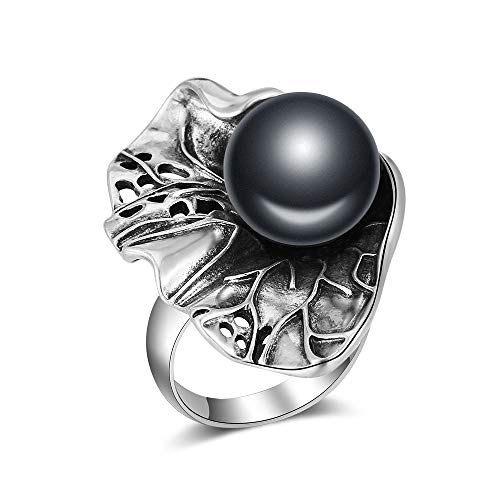 - Mytys Retro Silver Ring Antique Large Cocktail Rings Women's Jewelry Ring Gift Lotus Leaf Shape Size 8