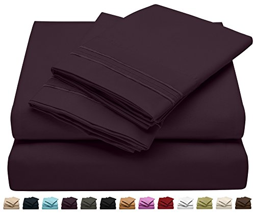 King Size Bed Sheet Set - Soft Brushed Microfiber Luxury Comfort Sheet Set - 1800 Thread Count Bedding Linens –King – Dark Purple - Victoria Collection by Jessie Porter