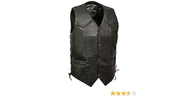 Event Biker Leather Mens Promo Side Lace Leather Vest Black, Medium