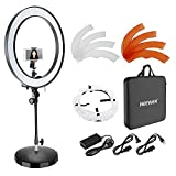 Neewer 18-inch Outer Dimmable Bi-color SMD LED Ring Light with Flexible Tube Arm, Weighted Metal Base, Diffuser, Phone Holder and Color Filter for Photo Studio Portrait Video Shooting (US/EU Plug)