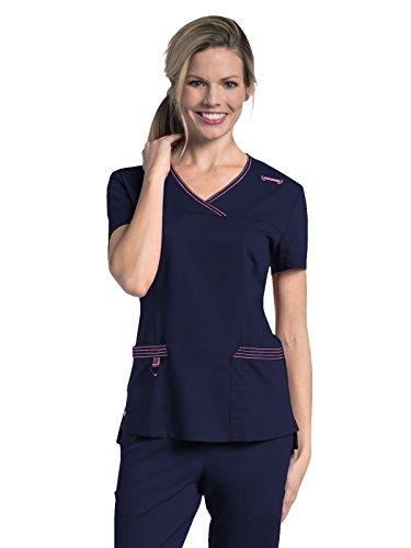 Landau Urbane Ultra Women's Modern Fit Melissa Surplice Scrub Top Navy/Cherry Blossom S