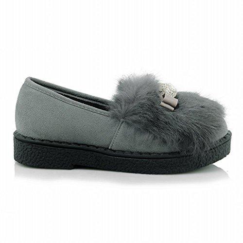 Slip En Fausse Fourrure Latasa Womens Sur Les Mocassins Dhiver Plats Chaussures Gris