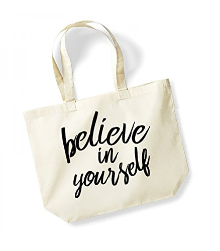 Bag black In Tote Natural Unisex Slogan Cotton Yourself Believe Canvas wZ7H1