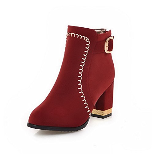 Allhqfashion Women's Zipper High-Heels Imitated Suede Solid Low-Top Boots Red GTcTosIpo