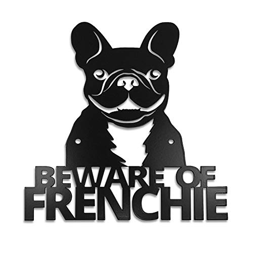 (Pet Deco Beware of Frenchie Dog Sign | Decorative French Bulldog Welcome Sign for Your Door or Gate, also Used as Wall Art | Easily Mount to Your Wall or Door | High-Grade Steel, Safe Black Semi-Gloss )