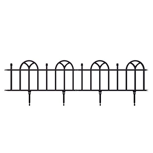 Garden Edging Border- Flower Bed Edging for Landscaping- Victorian Fence, 10 Piece Set of Interlocking Outdoor Lawn Stakes by Pure Garden (8')