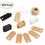 300PCS Kraft Paper Tags, Magnolora 3 Different Colors Craft Paper Tags Christmas Valentine's Day Wedding Party Favor Gift Tags with Jute Twine 30 Meters Long for Crafts, Thank You Gift Tags