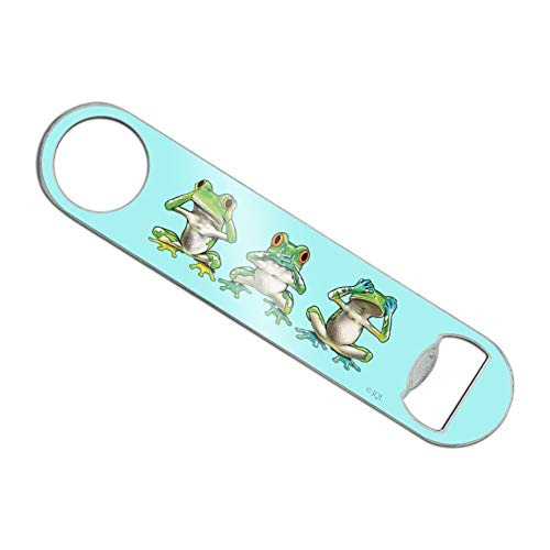 See No Evil Hear Speak Tropical Rainforest Frogs Stainless Steel Vinyl Covered Flat Bartender Speed Bar Bottle Opener ()