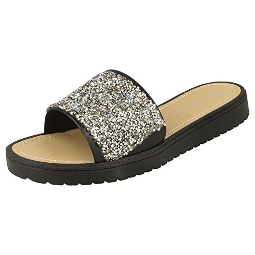 Toe Front Ladies Glitter Black Sandals Open POFw0