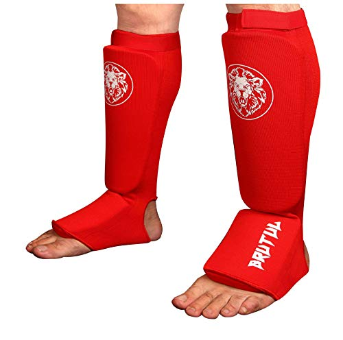 Brutul Protective Shin Instep Kickboxing Boxing MMA Muay Thai Karate Taekwondo Cloth Shin & Instep Padded Guards Training Sparring Shin Guards Leg Pad Training Protective Gear Washable (RED, L/XL)