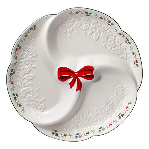 Pfaltzgraff Winterberry Ribbons 3 Section Serving Tray ()