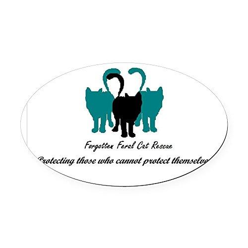 CafePress - Forgotten Feral Cat Rescue Oval Car Magnet - Oval Car Magnet, Euro Oval Magnetic Bumper Sticker (Rescue Feral Cat)