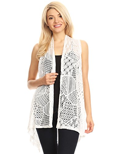 Anna-Kaci Womens Sleeveless Open Front Crochet Shawl Cardigan Bikini Cover Up, White, Small/Medium