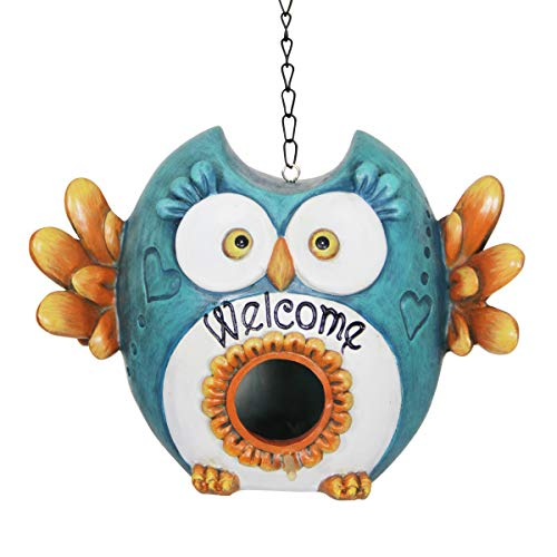 Exhart Silly Owl Bird House - Resin Blue Owl Attached to a 15 in. Link Chain - Funny Owl Birdhouse Decor, Best as Yard, Patio & Garden Decor, 7.95 in. L x 6.97 in. W x 7.24 in. H