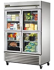 True TS Series Reach-In 4-Half Glass Door 49 Cu Ft Refrigerator