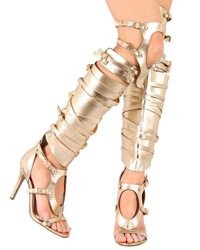 Breckelle's Women Metallic Leatherette Cut Out Open Toe Strappy Knee High Sandal Boot Stiletto Heel BA74 - Gold (Size: (Leatherette Stiletto Heel)