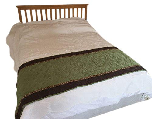 Quilted Micro Suede Bed Runner Scarf Slipcover Pad or Furniture Protector (26x76 inch, SageGreen)