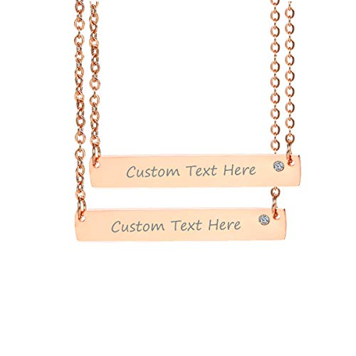 VNOX Customize Minimalist Dainty Rose Gold Plated Stainless Steel Horizontal Bar Friendship Necklace Set for 2