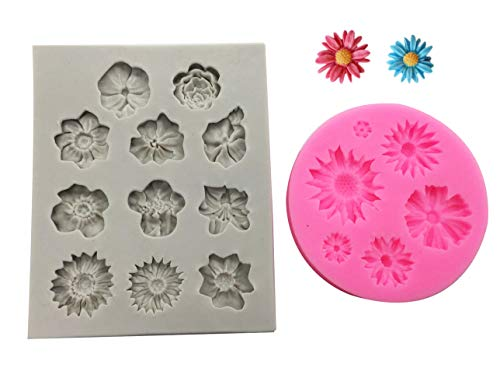 2Pcs/set Rose Daisy Sunflower Flower Collection Fondant Candy Silicone Mold for Sugarcraft Cake Decoration, Cupcake Topper, Polymer Clay, Soap Wax Making Crafting Projects