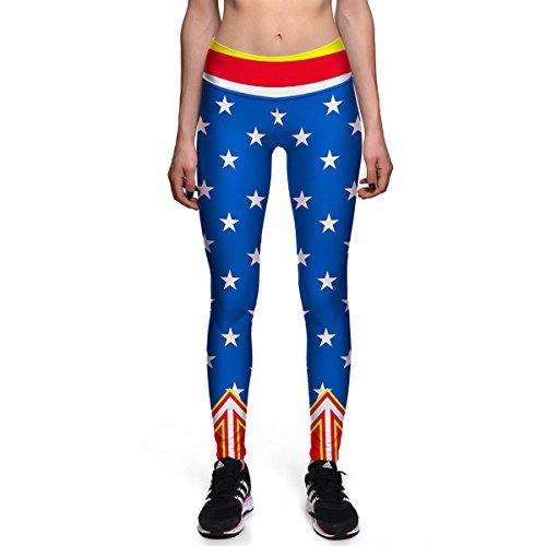 Pantalon De Yoga D'impression Numérique D'étoile à Cinq Branches Des Dames Minceur Souple Leggings Collants De Fitness Super élastique