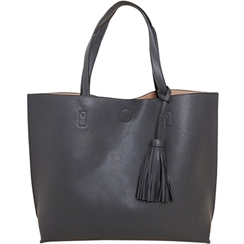 Humble Chic Large Vegan Leather Tote Bag Reversible Shoulder Handbag Tassel Purse, Charcoal Grey & Tan, Gray, Beige, Nude, Light Brown ()