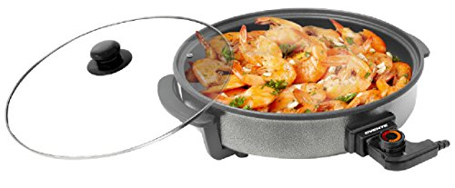 Find Bargain Ovente Round Electric Frying Pan, Granite with Tempered Glass Lid and Thermostat Control, 12inch Diameter (SK10112B)