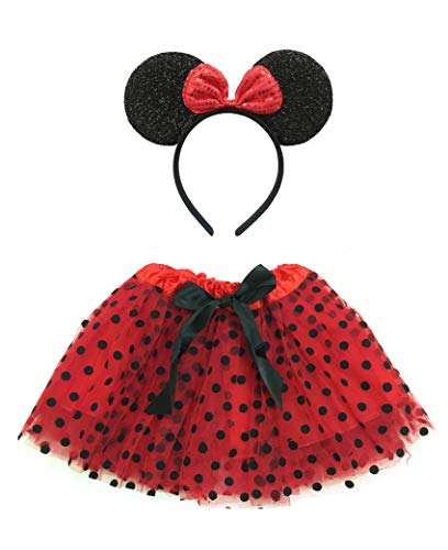 Rush Dance Tutu Skirt, Ears, Tail Headband Halloween School Performance Costume (Kid Size (2-8 Years Old), Red & Black Mouse) -
