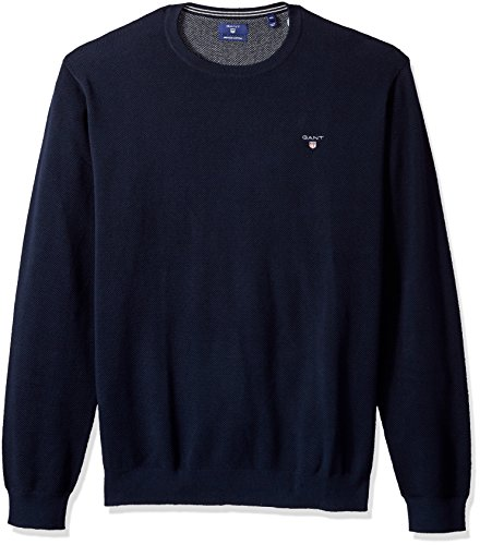 GANT Men's Cotton Pique Crewneck Sweater, Evening Blue, M by GANT