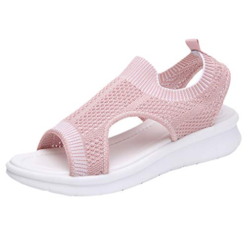 Womens Low Wedge Comfortable Breathable Sport Summer Sandals Easy Wear Cutout Durable Outdoor, MmNote Pink (Best Cc For Balance Transfers)