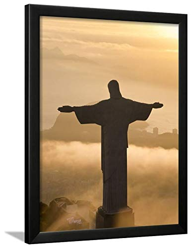 ArtEdge Statue of Jesus, Known as Cristo Redentor (Christ The Redeemer), on Corcovado Mountain in Rio De Ja by Peter Adams, Wall Art Framed Print, 24x18, Black Unmatted (Christ Rio Statue Redeemer)