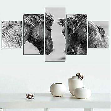 PEJHQY Cuadros de póster modulares 5 Piezas Animales Caballo Corriendo Lienzo Pintura Pop Art HD Impresiones Sala de Estar Arte de la Pared Decoración para el hogar,Cuadro en Lienzo Sepia