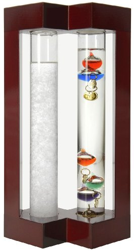 Lily's Home Desktop Weather Station, with Galileo Thermometer and Fitzroy Storm Glass Weather Predictor, 5 Multi-Colored Spheres (Station Crystal Weather)