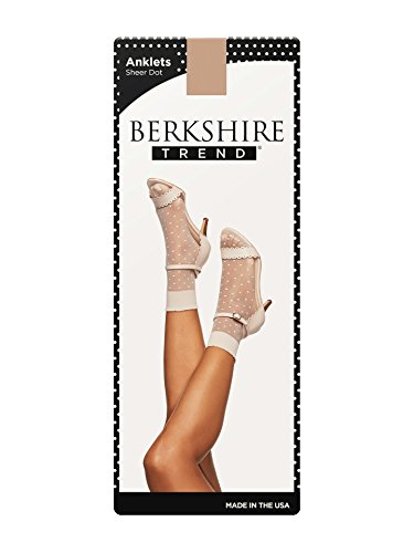 Berkshire Women's Dot Anklet Sock with Scalloped Top, Linen, Plus (Shoe Size 9-12) (Sheer Anklet)