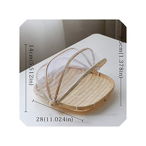 Handmade Bamboo Woven Bug Proof Wicker Basket Dustproof Picnic Fruit Tray Food Bread Dishes Cover with Gauze Panier Osier,Square28Cm