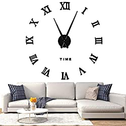 SOLEDI 3D DIY Wall Clock, Roman Numerals Clock Frameless Mirror Surface Wall Sticker Home Décor for Living Room Bedroom, Black