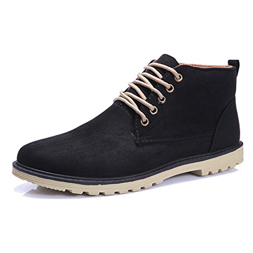 Sun Lorence Men's High Top Suede Leather Sneakers Lace-up Boots Black - Street Stores Oxford In London