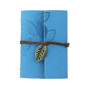 Oyedens Clásico De La Vendimia Del Cuero De La Cubierta De La Hoja De Las Hojas Intercambiables En Blanco Cuaderno Diario De Regalo (Azul)