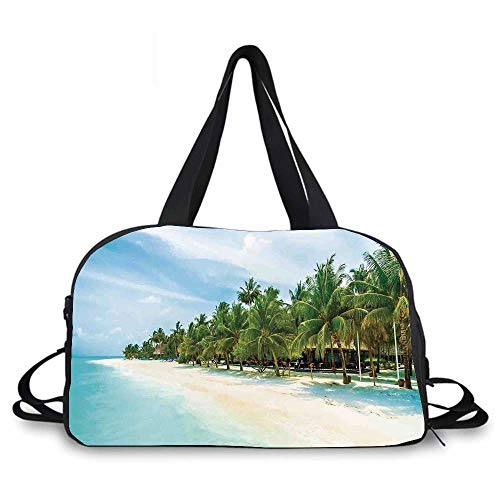Ocean Personality Travel Bag,Surreal Beach and Sea in Tropical Island with Coconut Palm Trees Ocean Exotic Lands for Travel Airport,One_Size