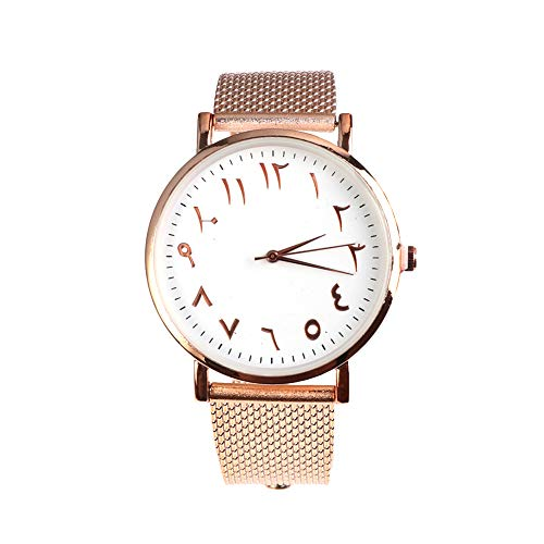 Arabic Numbers Mesh Watch Classic Men Women Simple Dial Quartz Watches (A (Arabic Watch)