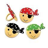 Dress My Cupcake DMC41MAS-801 12-Pack Pirate Face Ring Decorative Cake Topper, Birthday, Assorted
