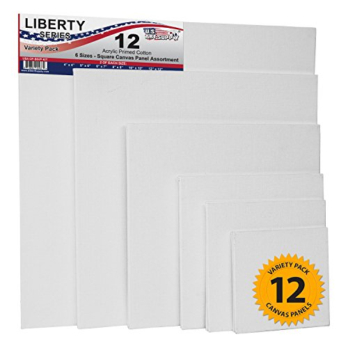 US Art Supply Square Variety Assortment Professional Artist Quality Acid Free Canvas Panels 12-Total Panels (2-EA: 12×12, 10×10, 8×8, 6×6, 5×5, 4×4)