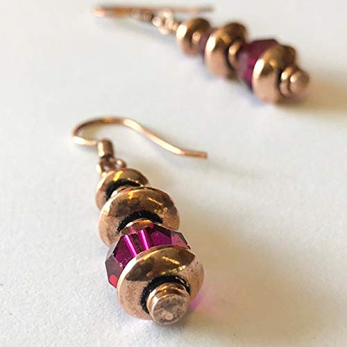 Copper Earrings with Red Ruby Crystals for Women 7th Anniversary Gift for Her by Simple Graces -