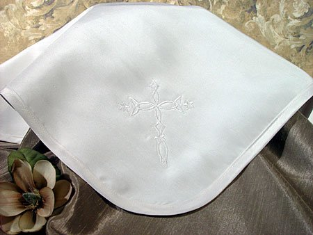Silk Dupioni Christening Blanket with Embroidered Cross