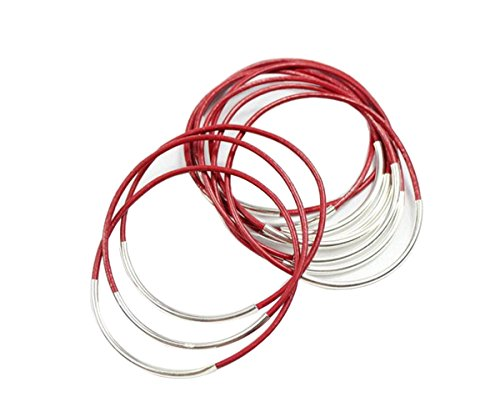 Red Genuine Leather Strands Bangle Bracelet with Silver Craft 12 Circles (Red) (Plastic Jewelry Bracelet Bangle)